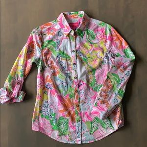 Lily Pulitzer Cotton Floral Top Perfect Condition!
